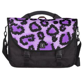 Modelo púrpura y negro del estampado leopardo bolsas para portátil