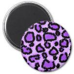 Modelo púrpura y negro del estampado leopardo iman de nevera
