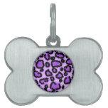 Modelo púrpura y negro del estampado leopardo placas mascota