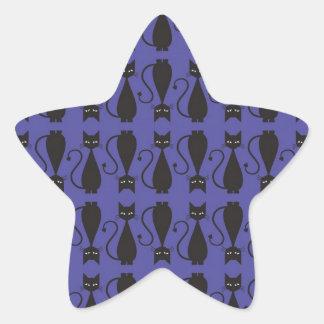 Modelo púrpura y negro del gato del gótico calcomanía forma de estrella personalizadas