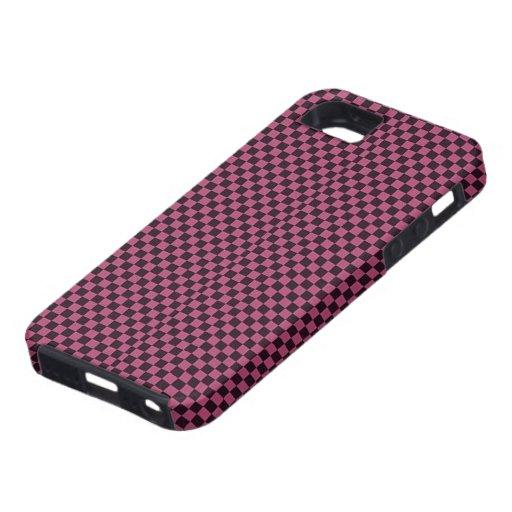 Modelo púrpura y negro retro del tablero de damas iPhone 5 Case-Mate carcasa