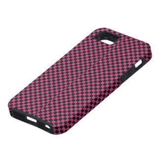 Modelo púrpura y negro retro del tablero de damas funda para iPhone 5 tough