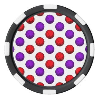 Modelo púrpura y rojo del baloncesto fichas de póquer