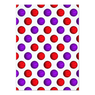 """Modelo púrpura y rojo del baloncesto invitación 5.5"""" x 7.5"""""""