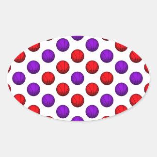 Modelo púrpura y rojo del baloncesto colcomanias oval