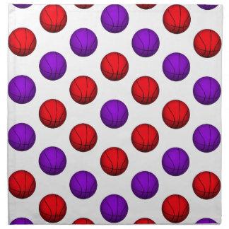Modelo púrpura y rojo del baloncesto servilleta