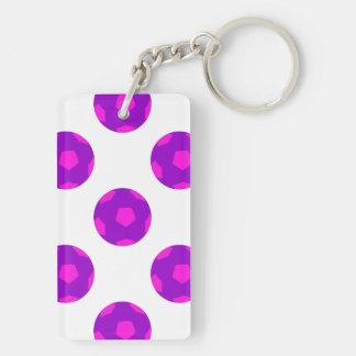 Modelo púrpura y rosado del balón de fútbol llavero rectangular acrílico a doble cara