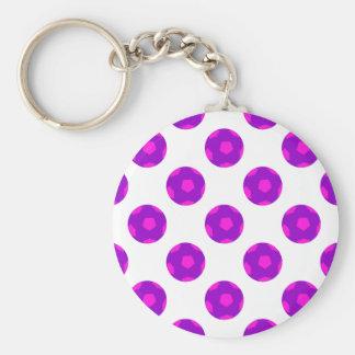 Modelo púrpura y rosado del balón de fútbol llavero redondo tipo pin