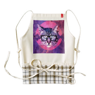 Modelo púrpura y rosado del gato geométrico. Gato Delantal Zazzle HEART