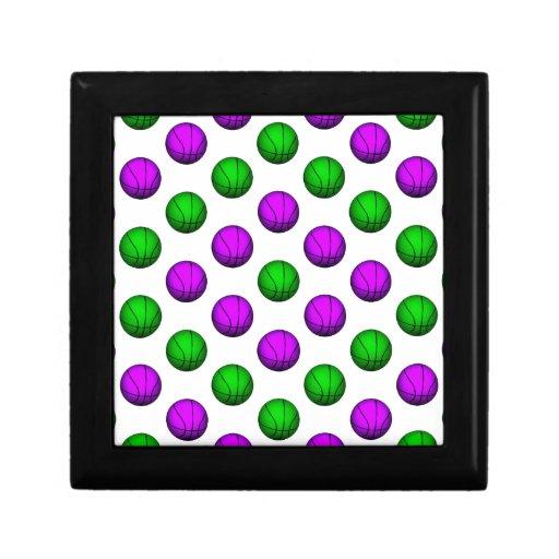 Modelo púrpura y verde del baloncesto cajas de regalo