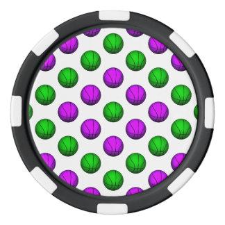 Modelo púrpura y verde del baloncesto fichas de póquer
