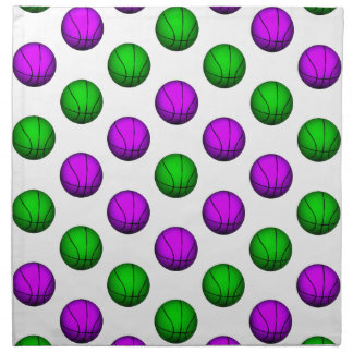 Modelo púrpura y verde del baloncesto servilletas