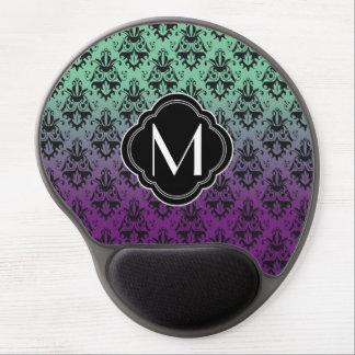 Modelo púrpura y verde del damasco con el monogram alfombrilla de ratón con gel