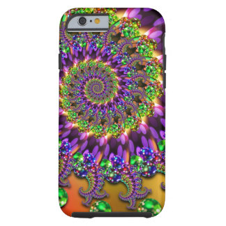 Modelo púrpura y verde del fractal de Bokeh Funda De iPhone 6 Tough