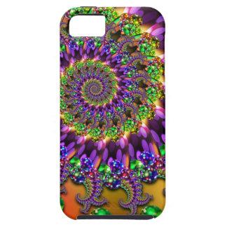 Modelo púrpura y verde del fractal de Bokeh iPhone 5 Case-Mate Cobertura