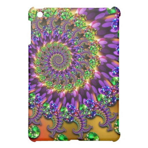 Modelo púrpura y verde del fractal de Bokeh iPad Mini Cárcasa