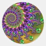 Modelo púrpura y verde del fractal de Bokeh Pegatina Redonda