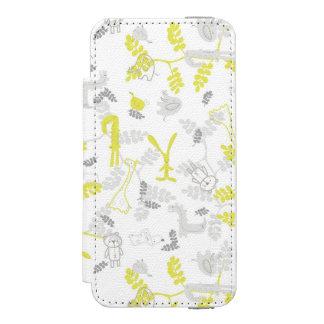 modelo que exhibe los animales 2 del bebé funda billetera para iPhone 5 watson