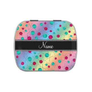 Modelo que hace punto personalizado del arco iris latas de caramelos