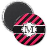 Modelo rayado abstracto rosado negro con el monogr iman