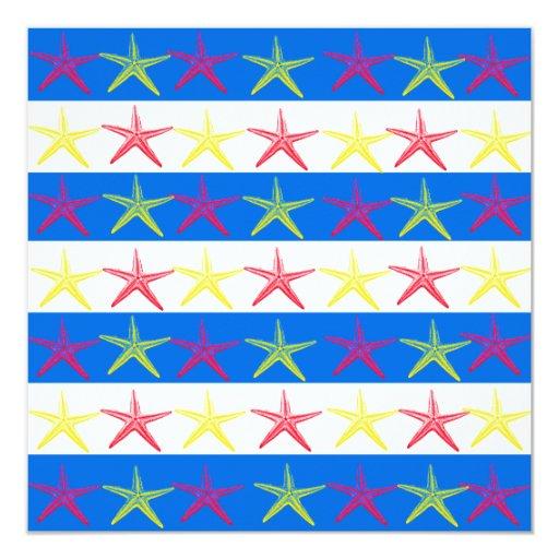 Modelo rayado azul de las estrellas de mar del invitación 13,3 cm x 13,3cm