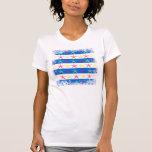 Modelo rayado azul de las estrellas de mar del camiseta