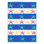 Modelo rayado azul de las estrellas de mar del tarjeta de felicitación