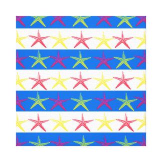 Modelo rayado azul de las estrellas de mar del tem impresión en lona