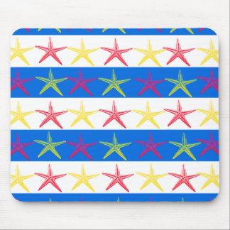 Modelo rayado azul de las estrellas de mar del tem tapetes de ratones