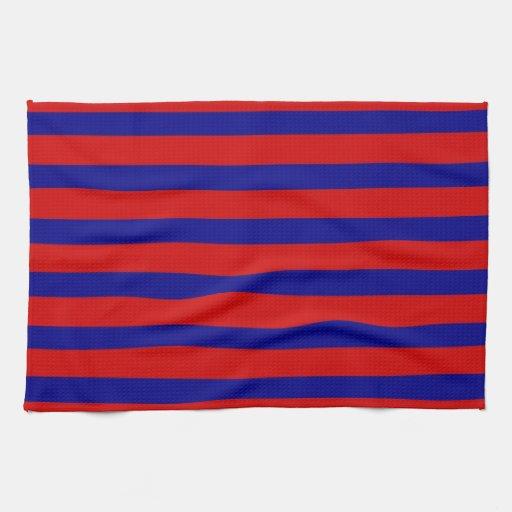 Modelo rayado azul rojo y brillante colorido toalla de mano