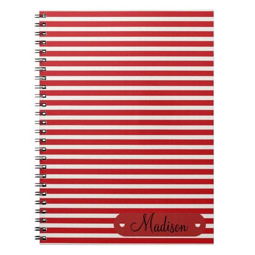 Modelo rayado blanco rojo conocido personalizado p libro de apuntes con espiral