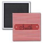 Modelo rayado blanco rojo conocido personalizado p imán de frigorífico