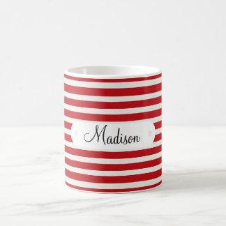 Modelo rayado blanco rojo conocido personalizado p taza de café