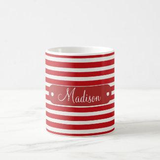 Modelo rayado blanco rojo conocido personalizado p tazas de café