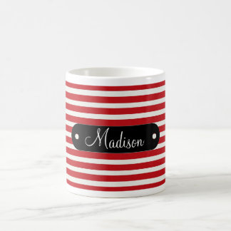 Modelo rayado blanco rojo conocido personalizado p taza