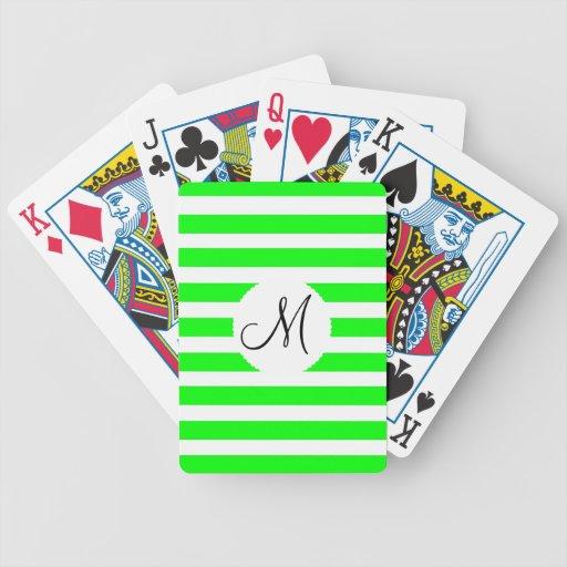 Modelo rayado blanco verde de neón inicial del mon baraja de cartas