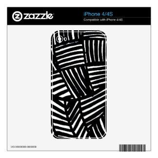 Modelo rayado blanco y negro calcomanías para el iPhone 4