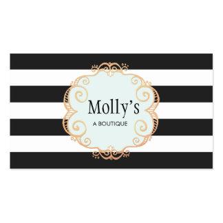 Modelo rayado blanco y negro lindo y elegante tarjetas de visita