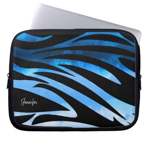 Modelo rayado de la cebra azul y negra funda ordendadores