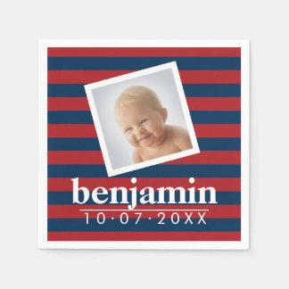 Modelo rayado de la foto del bebé y del muchacho servilleta desechable