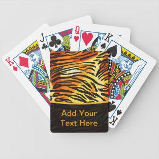 Modelo rayado de la impresión de la piel del tigre barajas de cartas