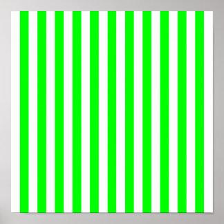 Modelo rayado de la verde lima póster