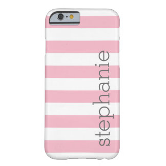 Modelo rayado de moda con el nombre - rosa en funda barely there iPhone 6