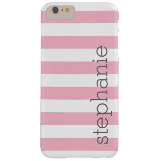Modelo rayado de moda con el nombre - rosa en funda barely there iPhone 6 plus