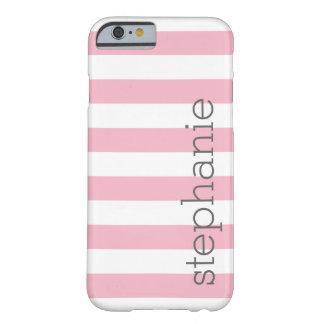 Modelo rayado de moda con el nombre - rosa en funda para iPhone 6 barely there