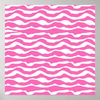 Modelo rayado de moda de la cebra rosada y blanca póster