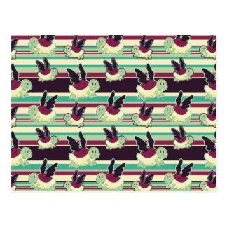 Modelo rayado de tortugas coas alas negro tarjetas postales