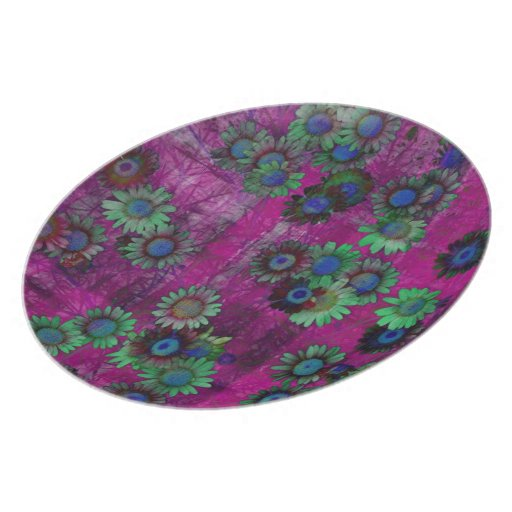 Modelo rayado del arte de las flores coloridas plato
