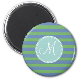 Modelo rayado del bígaro verde inicial del imán redondo 5 cm