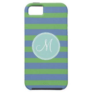 Modelo rayado del bígaro verde inicial del monogra iPhone 5 Case-Mate protector